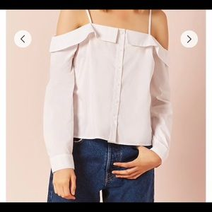 Forever 21 white button down off shoulder